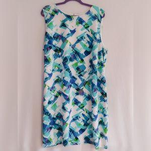 Calvin Klein White Blue Green Sheath Dress
